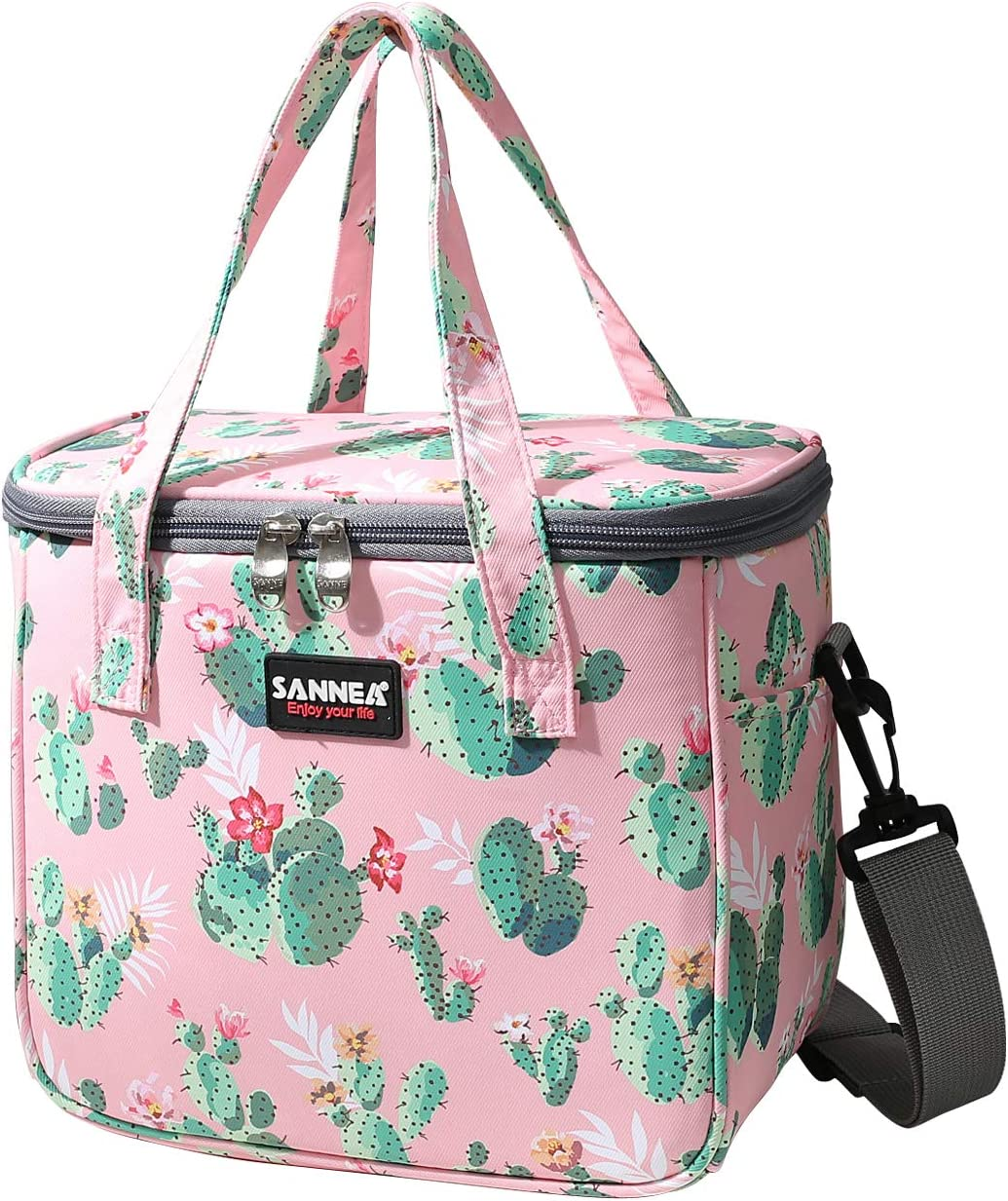 Lunch Bags for Women Girls Insulated Lunch Box Colorful Fashion Tote Bag Snacks Organizer Durable Leak-proof Drink Holder for School/Picnic/Hiking/College Work, Cactus