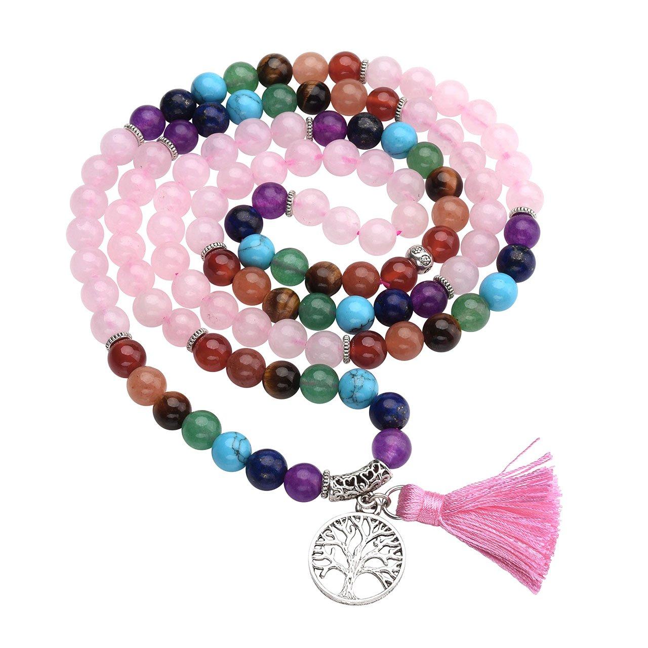 Top Plaza 7 Chakra Buddhist Mala Prayer Beads 108 Meditation Healing Multilayer Bracelet/Necklace W/Tree of Life Tassel Charm, Rose Quartz