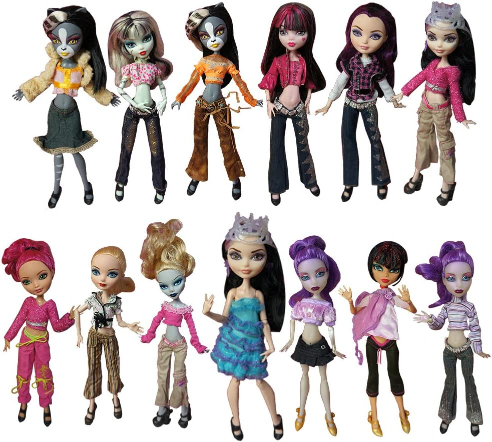 Amazon Com Barwa 10 Sets Doll Clothing Packs Causal Clothes Dress Outfits For Monster High Dolls Toys Games