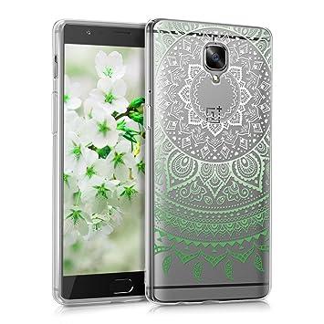 kwmobile Funda para OnePlus 3 / 3T - Carcasa de [TPU] para móvil y diseño de Sol hindú en [Verde/Blanco/Transparente]