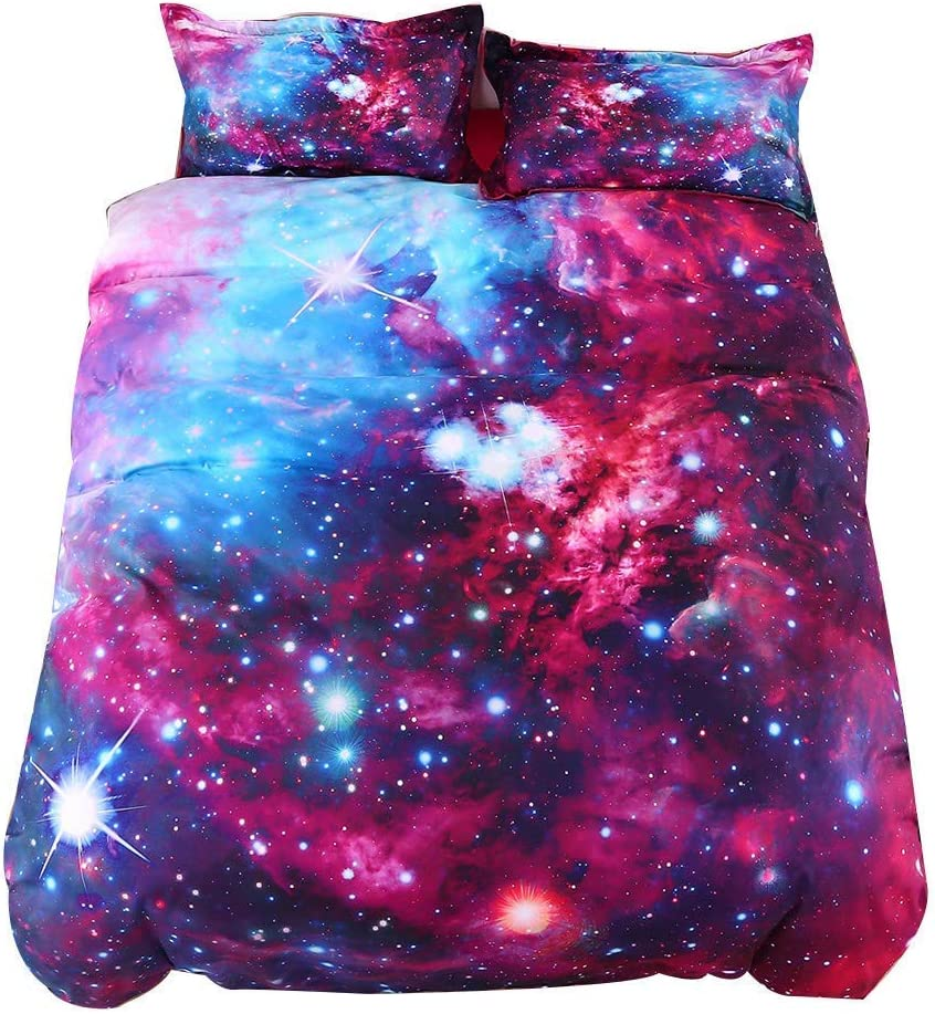 UniTendo 5-Piece 3D Beautiful Night Galaxy Watercolor Printed Soft 50% Cotton 50% Tencel 800 Threads Comforter Sets Reversible Duvet Cover Set,Comforter Included, King Size, Galaxy Purple and Blue.