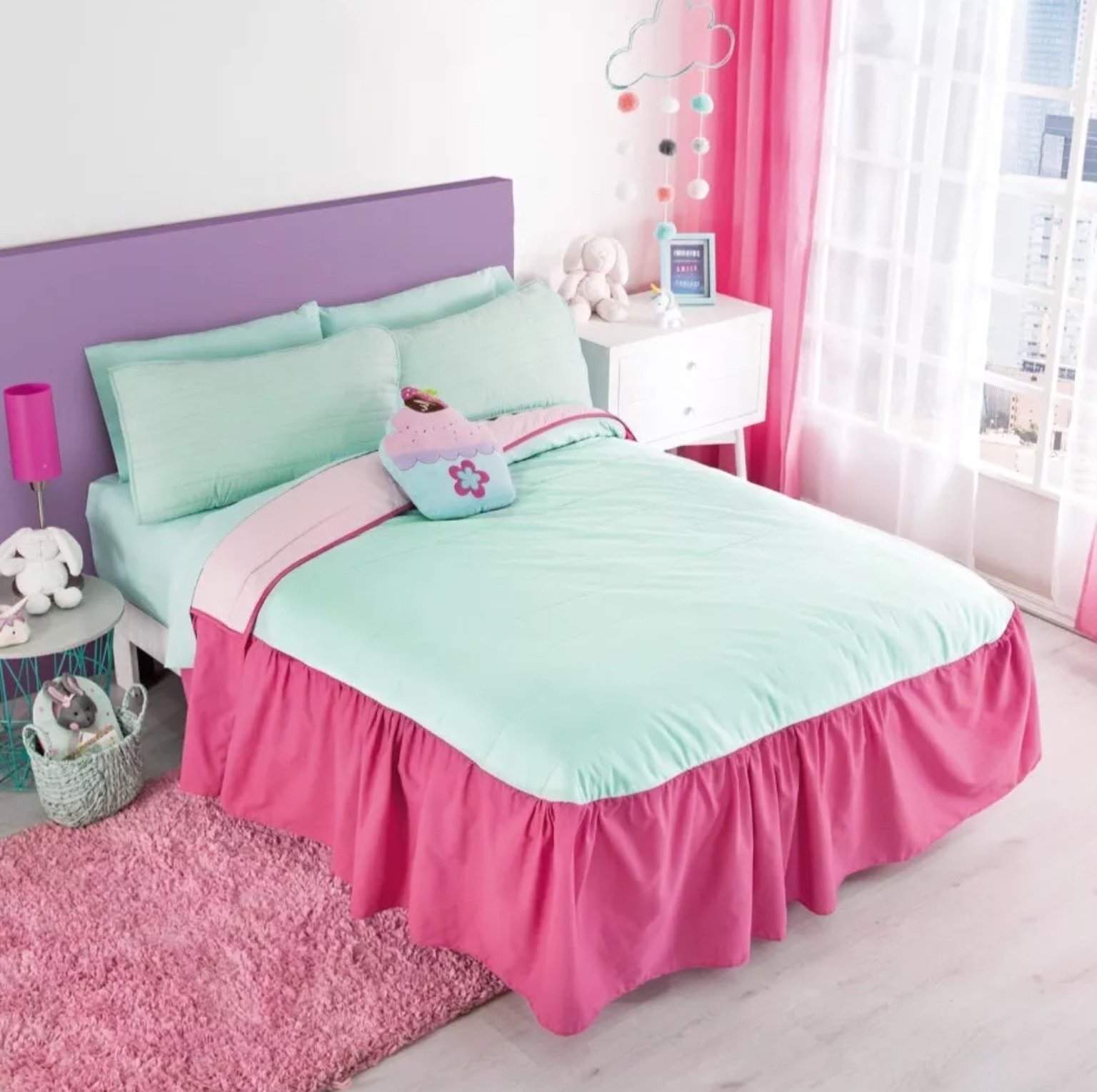 JORGE'S HOME FASHION NEW PRETTY COLLECTION UNICORNS CLOUDS STARS KIDS GIRLS REVERSIBLE BEDSPREAD SET 1 PCS TWIN SIZE
