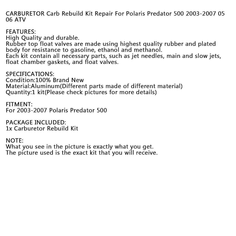 kit de reconstrucci/ón de carburador para Polaris Predator 500 2003-2007 ATV Artudatech Kit de reconstrucci/ón de carburador para motocicleta