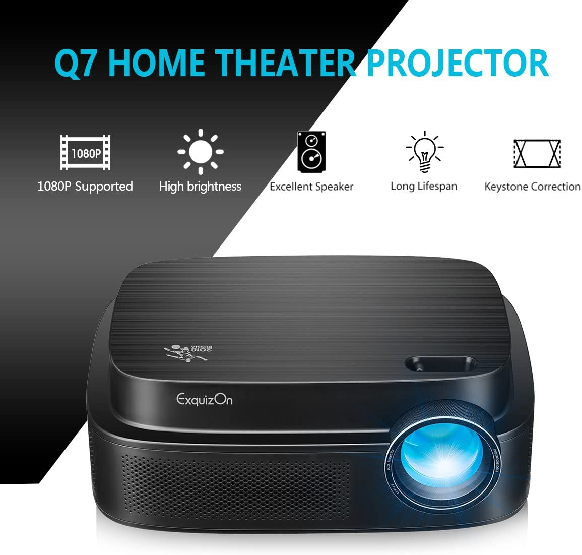 ExquizOn Videoproyector, Q7 LED Proyector Full HD 1080P, Proyector ...