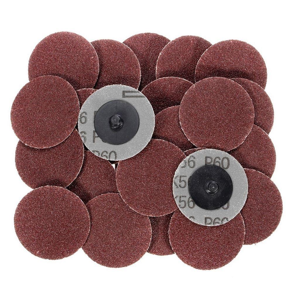 SODIAL(R) 25pcs/lot 2 Inch Disc Sanding Abrasive Roll Lock Coarse:36 Grit