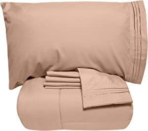 Sweet Home Collection 5 Piece Comforter Set Bag Solid Color All Season Soft Down Alternative Blanket & Luxurious Microfiber Bed Sheets, Queen, Taupe