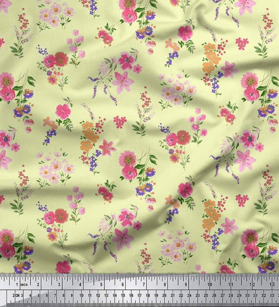 5 Yard Fabric Cotton Voile Sewing Loose Craft Plain Pink Light Weight Fabric