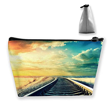 96e4a1a3b4f4 Amazon.com: Hateone Portable Make-up Bag Train Railway Beautiful ...