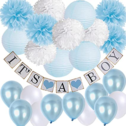 Amazon Baby Shower Decorations Kit Its A Boy Banner Baby Blue