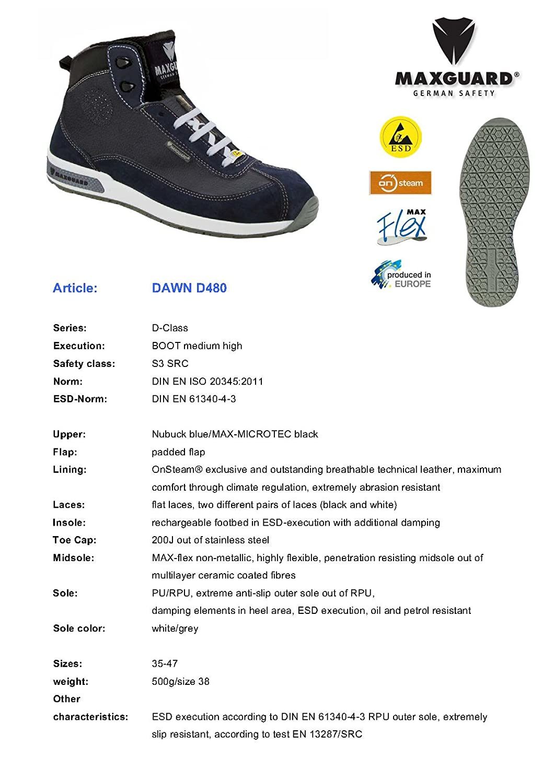 Maxguard Dawn D480, Unisex-Erwachsene Sicherheitsschuhe, Blau (Blau), 41 EU EU EU - c2a4c0