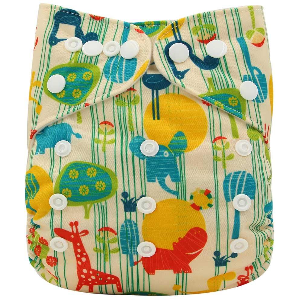 Ohbabyka Pañales unisex de tela estilo bolsillo para bebés con 1 tela interna de gamuza suave OB101-Green Animal Talla:talla única