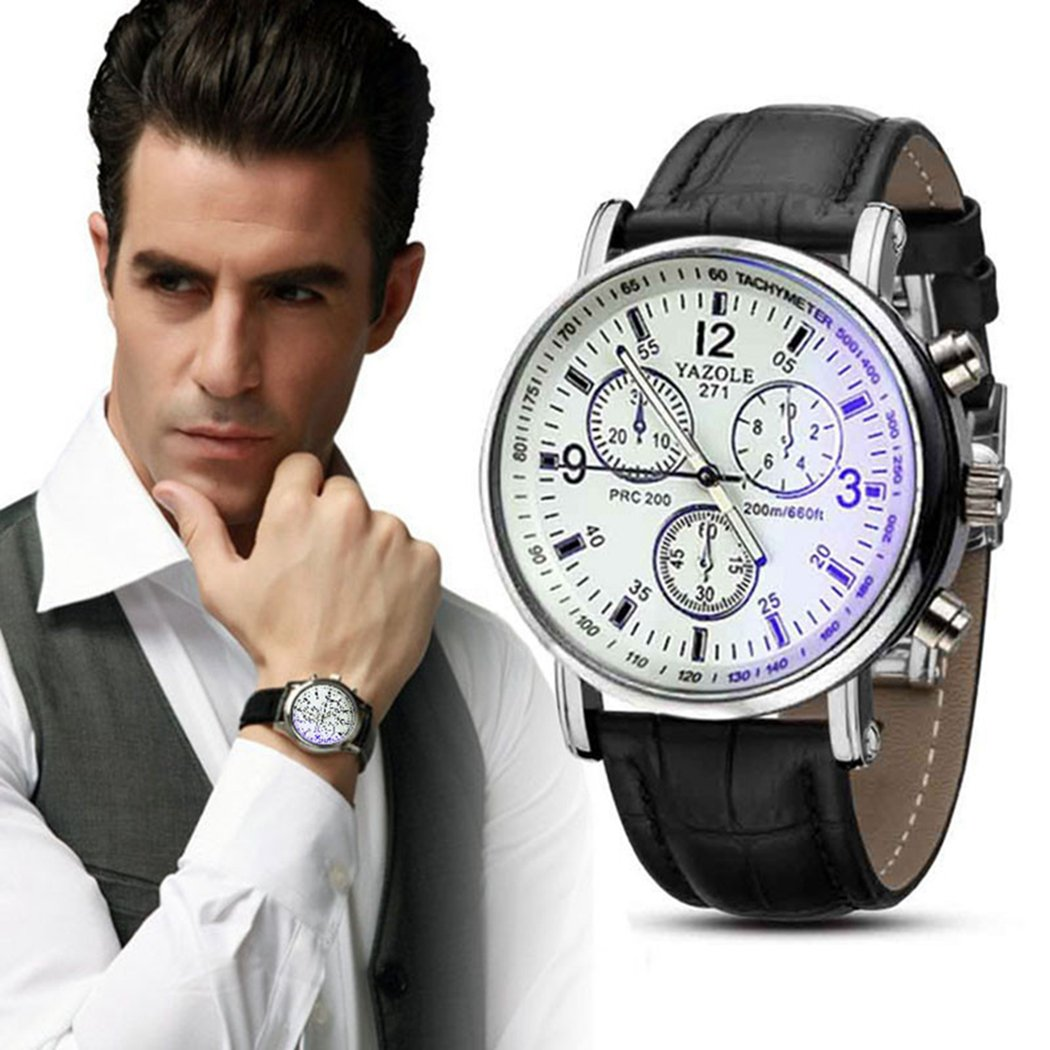 Amazon.com: Mens Quartz Watch,COOKI Unique Analog Business Casual Fashion Wristwatch,Clearance Cheap Watches with Round Dial Case,Comfortable PU Leather ...