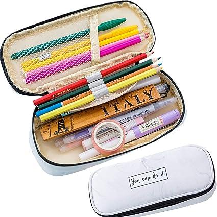 Vuelta al cole pencil case regalos originales para Chicas Chicos Niños estuches escolares grandes poner mochila escolar bonito Utilizado para bolígrafos maquillaje Set De Papelería estuche marmol: Amazon.es: Oficina y papelería