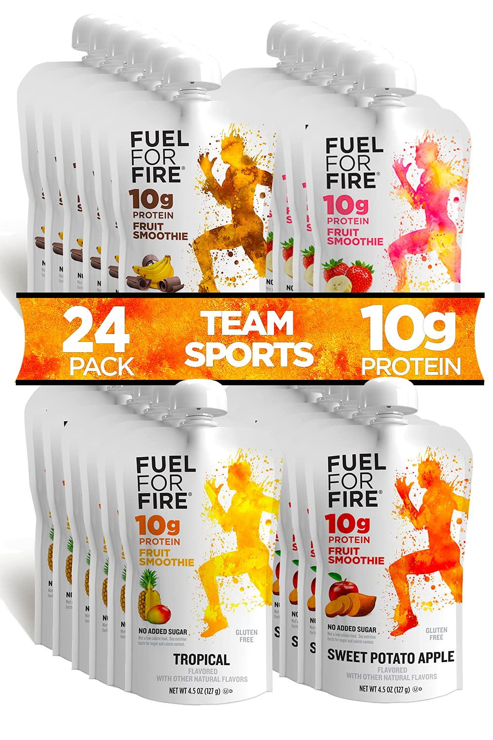 Fuel For Fire - Variety - Team Sports (24 Pack) Fruit & Protein Smoothie Squeeze Pouch | Perfect for Workouts, Kids, Snacking - Gluten Free, Soy Free, Kosher (4.5 ounce pouches)