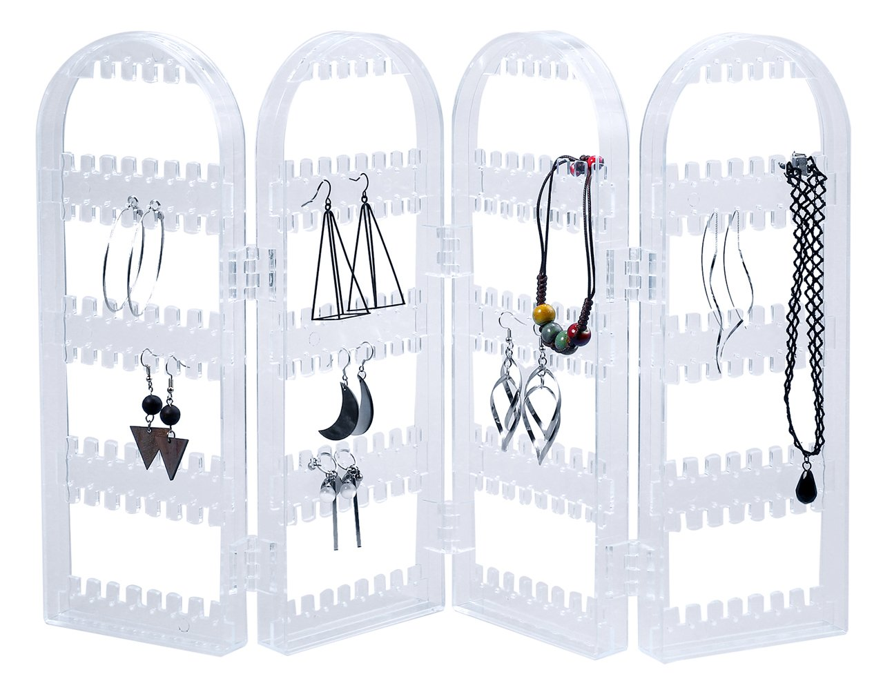 Tanice 4-Panel Jewelry Organizer Stand Earring Holder Foldable Acrylic Earring Organizer Chain Necklace Display Stand Transparent for Home TANHM253US