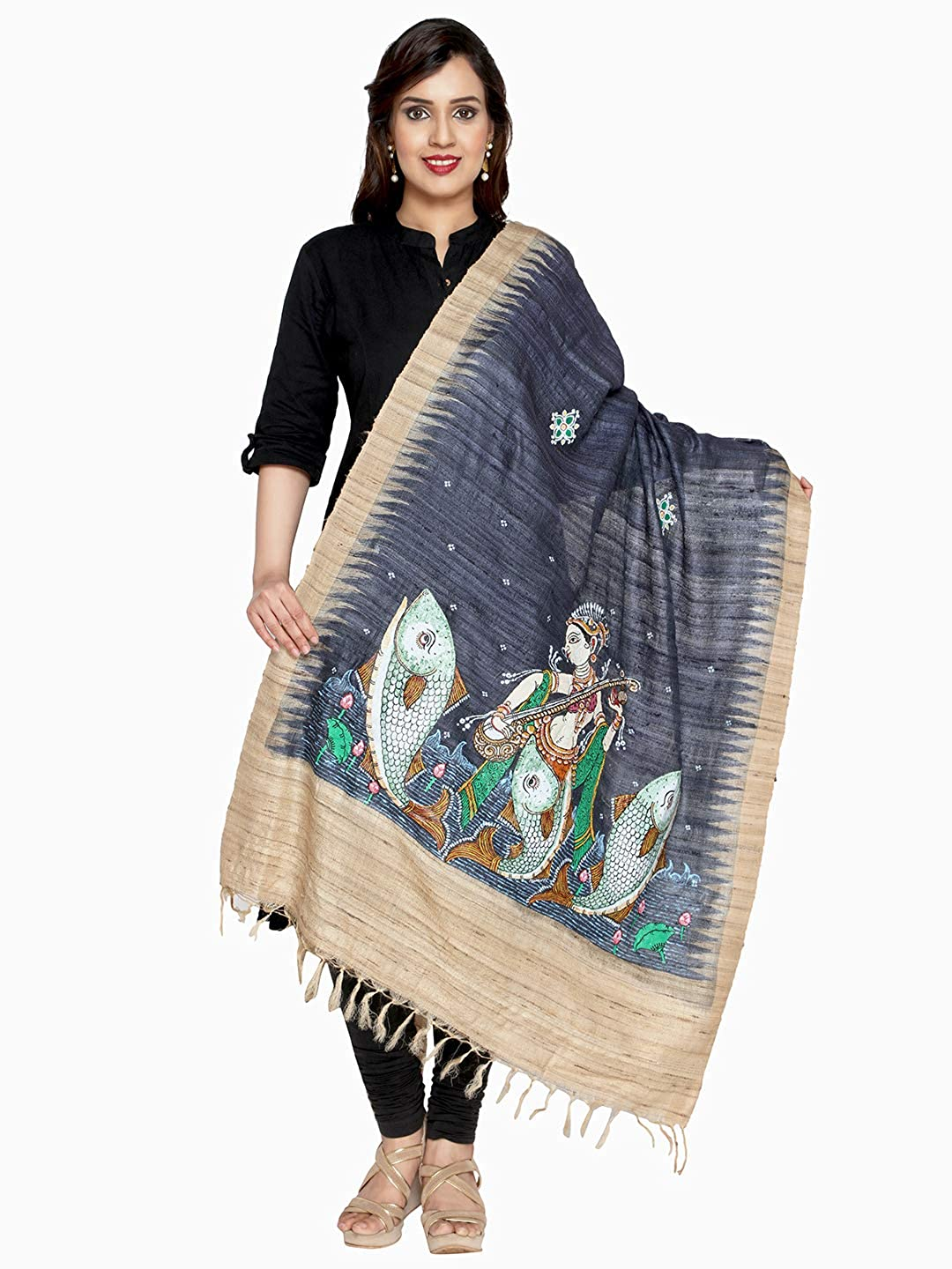 bluee Crafts Collection Women's Handmade Dupatta With Handpainted Motifs