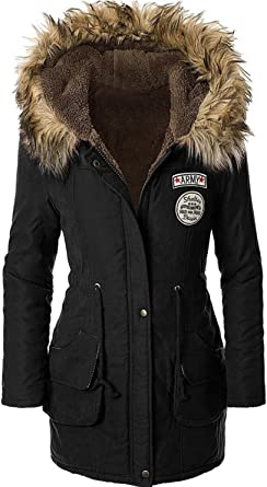 4HOW Womens Faux Fur Lined Parka Coats Outdoor Winter Hooded Long Jacket Black Army Green US 6 14
