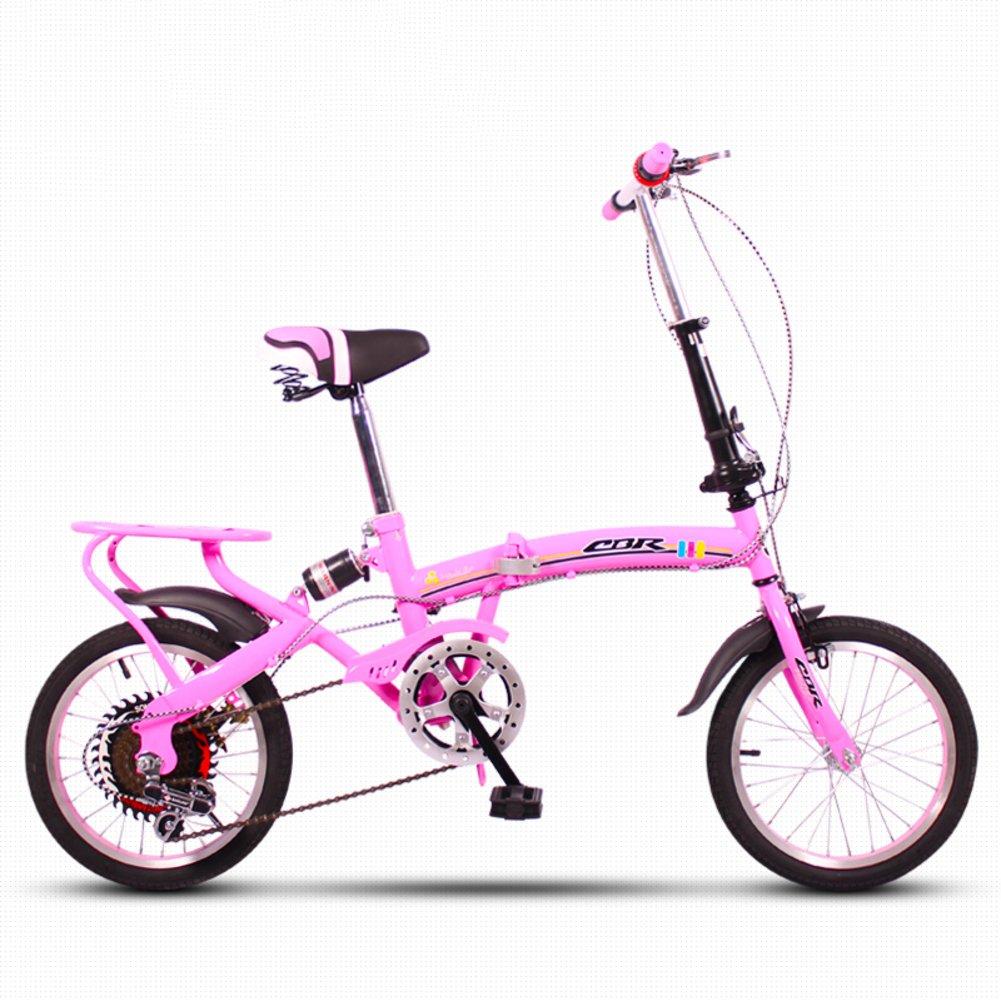 子供用折りたたみ自転車, 学生折りたたみ自転車 軽量 ミニ 小型のポータブル 衝撃吸収 変数 6 速 男性と女性 折りたたみ自転車 B07DK7B3CL 16inch|ピンク ピンク 16inch