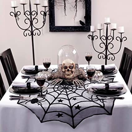 halloween spider web black lace table topper cobweb round party table covers for halloween house