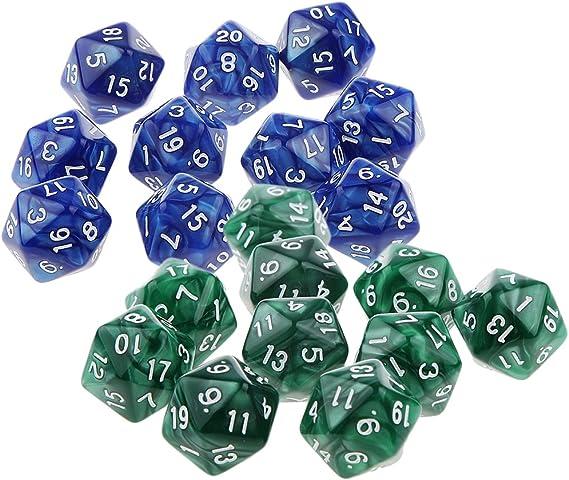20 PCS D20 Dado Dice para Game Juego de Mesa Juego de Dados - Verde y Azul: Amazon.es: Juguetes y juegos