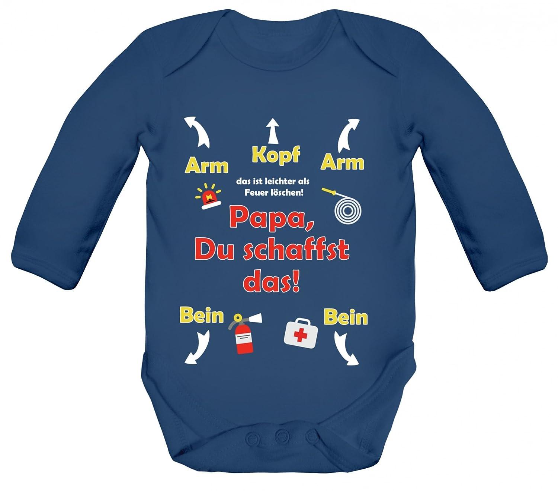 ShirtStreet Geschenk zum Vatertag Feuerwehrmann Strampler Bio Baby Body Bodysuit langarm Jungen Mädchen Feuerwehr - Papa Du schaffst das