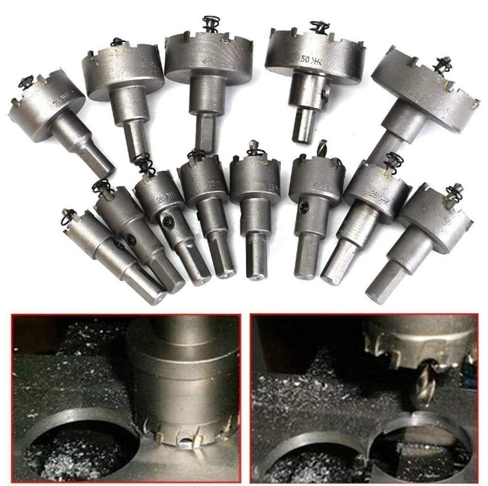 Drill Warehouse 13Pcs 16mm-53mm Stainless Steel Carbide Tip TCT Metal Drill Bit Hole Saw Set