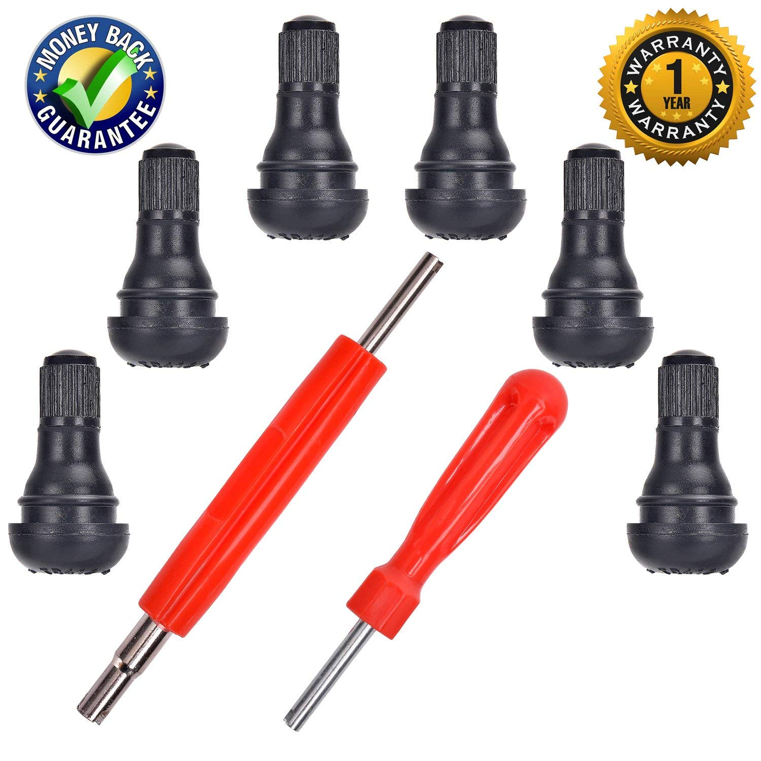 """XGroup Snap-in Short Black Rubber Valve Stem for Tubeless 0.453/"""" Inch 11.5mm Rim Holes on Standard Vehicle Tires 2 in 1 Set Dual Single Head Valve TR-416 Set of 2//4//6//8//10"""