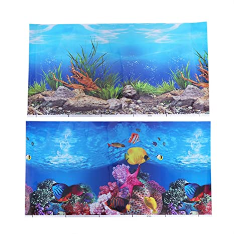 POPETPOP Fish Tank Background Sticker 3D de Doble Cara Adhesivo del Acuario Wallpaper Imágenes Decorativas 52x30cm