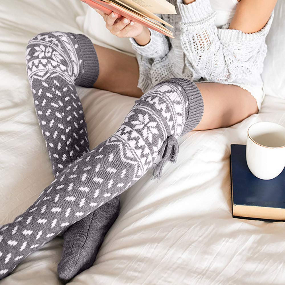 Jinjin Ladies Fall//Winter Christmas Weave Snowflakes Over Knee Knitting Stockings Fuzzy Floor Casual Socks Holiday Gifts Wine