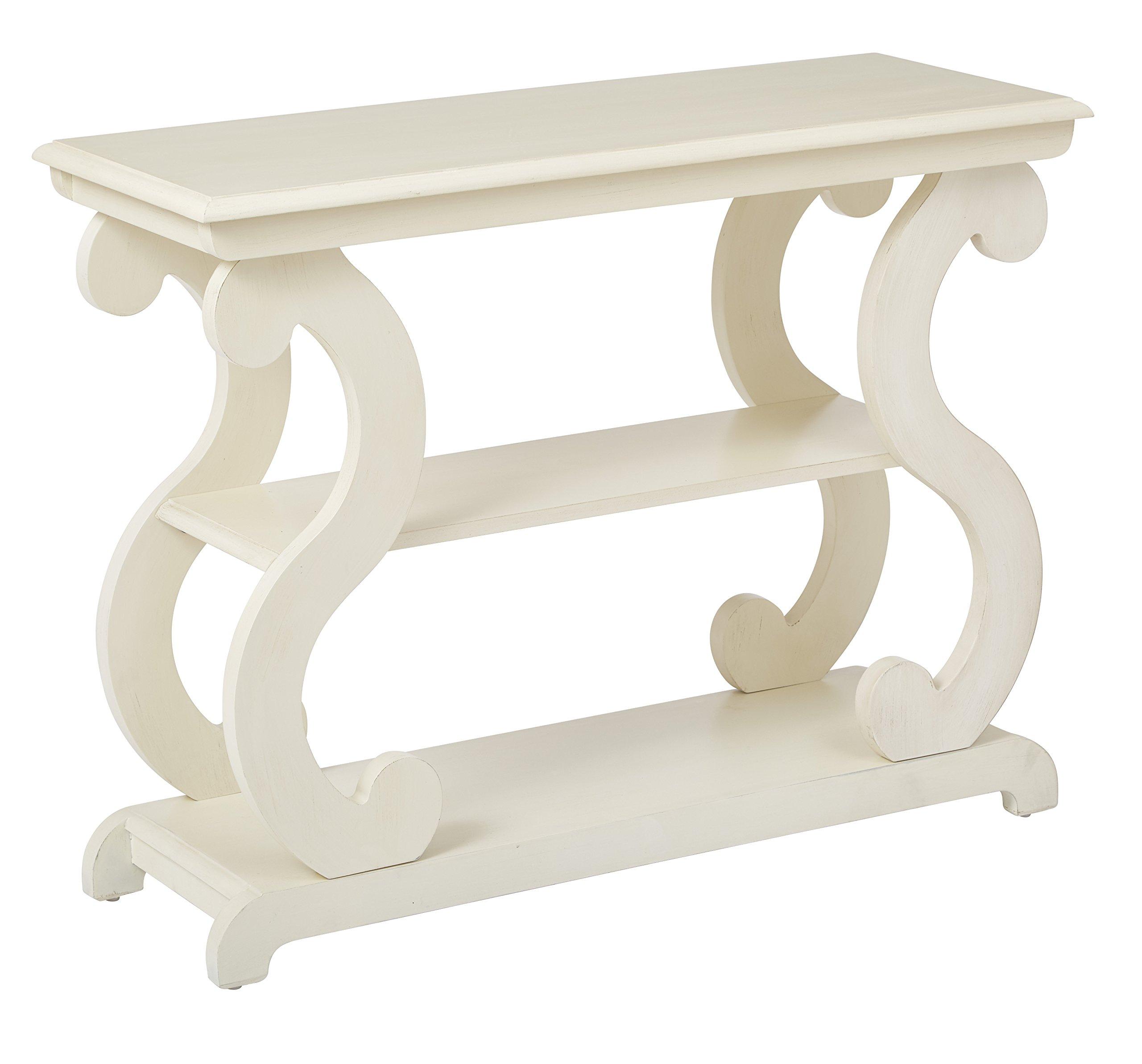 OSP Designs Ashland Console Table, Antique Beige