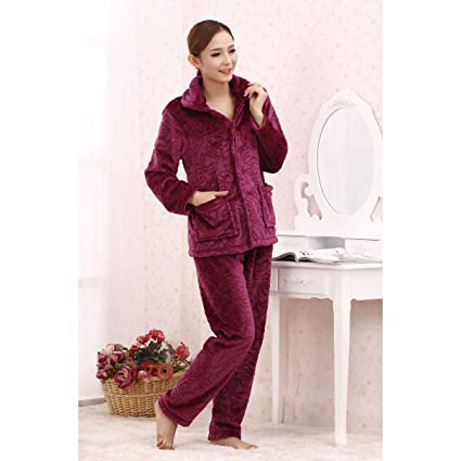 Pijama Mujer Forro Polar Pijama Otoño e invierno de peluche de Albornoz PYJAMAS calientes acogedor Home