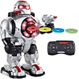 Think Gizmos TG542-VR RoboShooter Remote Control Robot for Kids - Fun Toy Robot with Voice Recording, Fires Discs, Plays Musi