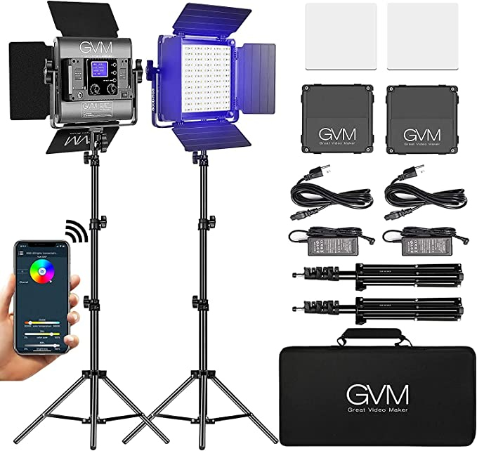 GVM Studio Lighting, RGB LED Video Lighting with Stand, CRI97+ Photography Lighting Kit with App Control, LED Panel for Video Studio Photography YouTube Outdoor Shooting(800D 2 Pack)