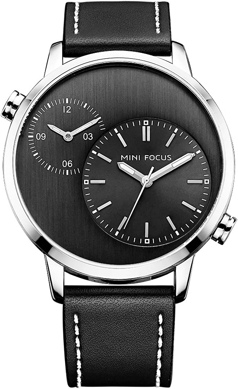 Nice Business Men S Watch Dual Time Zone Large Face Watch Silver Case Black Leather Band with Japan Movement Quartz Analog Display Watch
