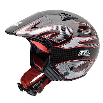 NZI Trials II Carbon Casco de Moto, Negro/Rojo/Gris, 57 (