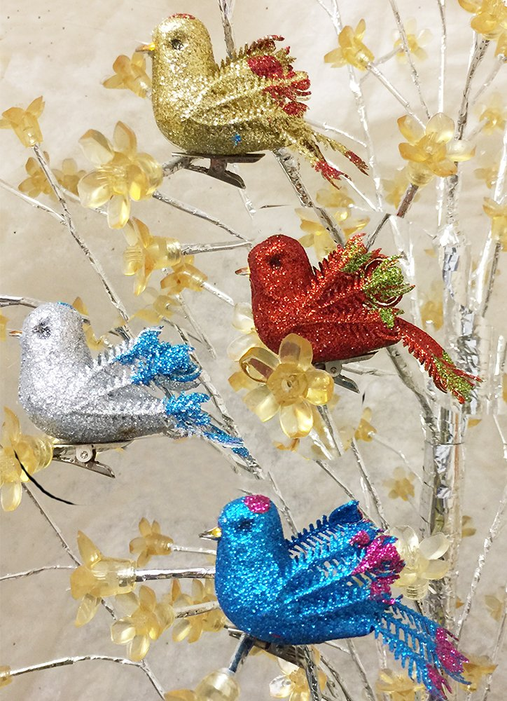 Christmas Bird Ornaments - 24 glitter clip on ornaments