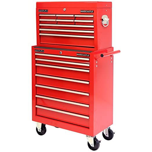 Hardcastle 16 Drawer Red Lockable Tool Box Chest & Roller Cabinet ...