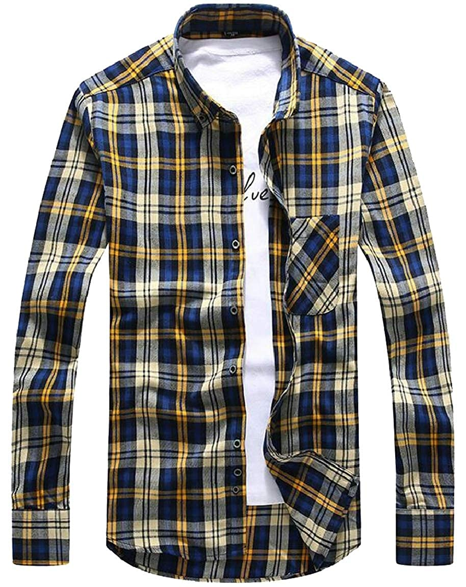 HTOOHTOOH Mens Casual Checked Long Sleeve Plaid Button Down Shirt