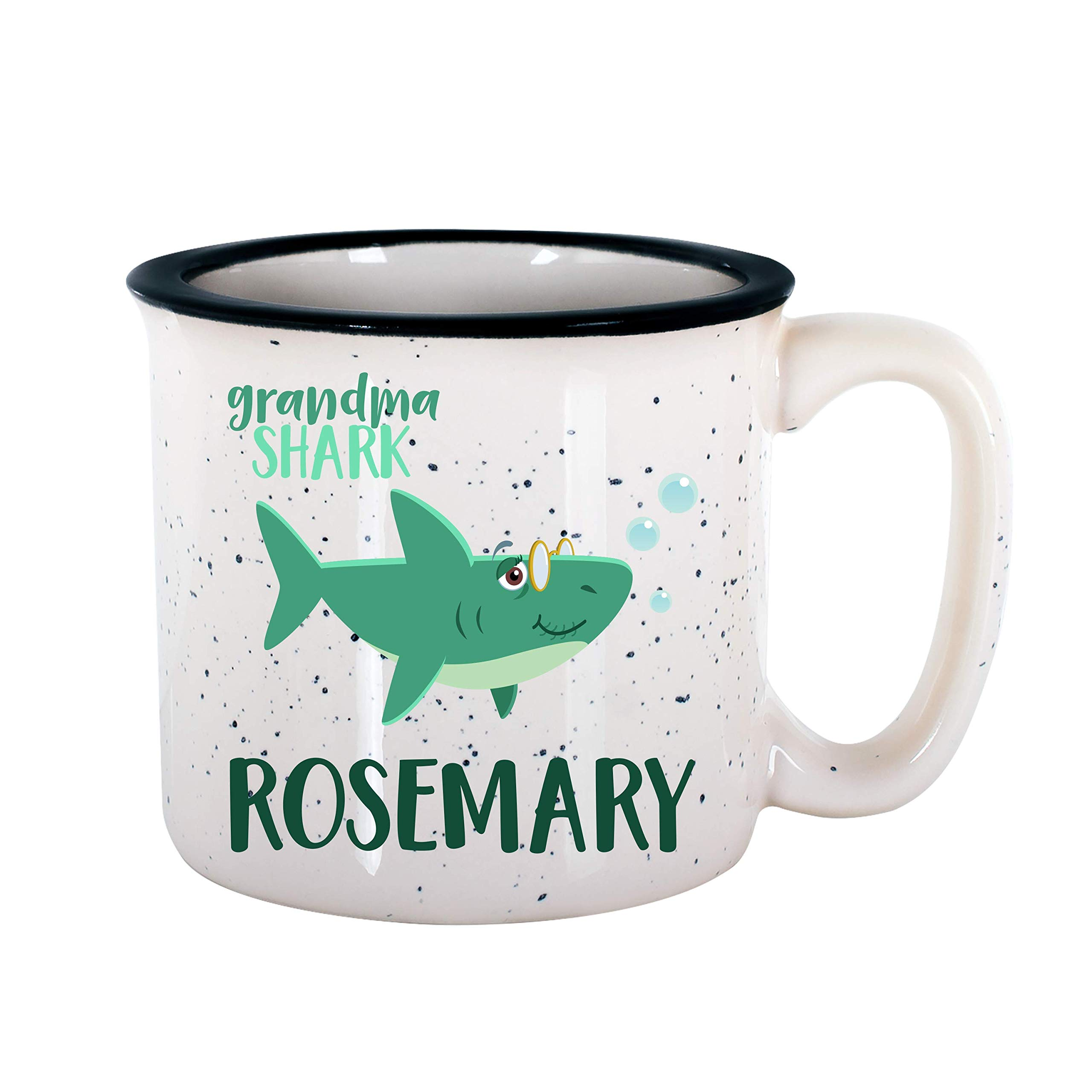 Personalized Gifts Shark Family Coffee Mug - 16oz Camp Style Ceramic Mug -Birthday Gifts, Christmas Gifts, Mother's Day - Baby, Boy, Girl, Mommy, Daddy, Grandma, Grandpa Sharks