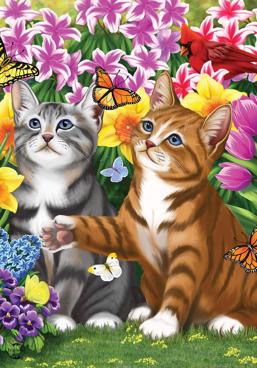 "Briarwood Lane Garden Kittens Spring Garden Flag Cats Floral 12.5"" x 18"""