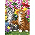"""Briarwood Lane Garden Kittens Spring House Flag Cats Floral 28"""" x 40"""""""