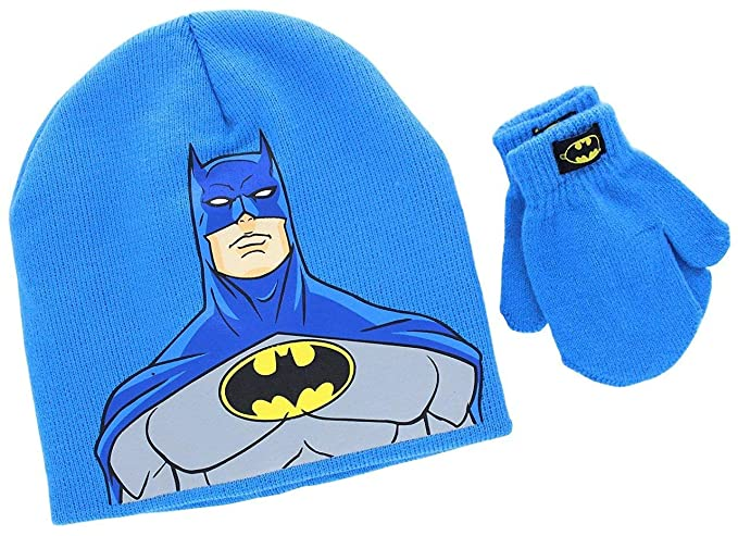 69693cc6b44 KIDS COMIC SUPERHERO LICENSED BEANIE BOYS TODDLER WINTER HAT   MITTEN SETS ( Batman Face)