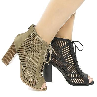 Peep Toe Geometric Cut Out Lace up Heeled Sandals