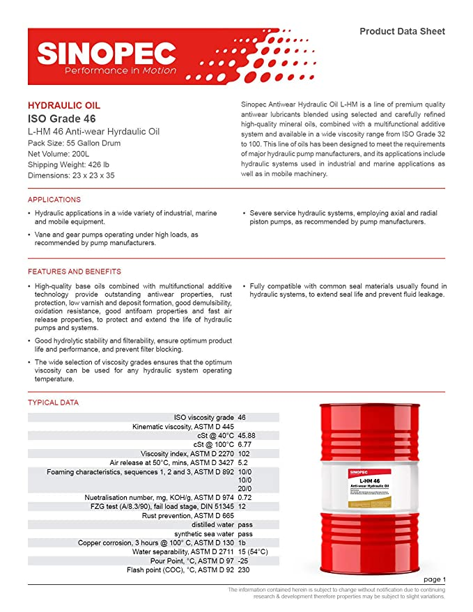 Sinopec AW 46 Hydraulic Oil Fluid ISO VG 46