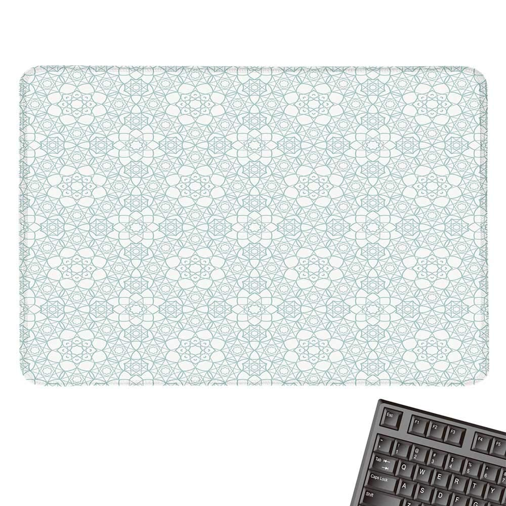 MoroccanOffice マウスパッド 芸術的なパッチワークスタイルパターン オールドファッションフラワーボヘミアンイラスト 防水マウスパッド 9.8インチx11.8インチ マルチカラー 15.7