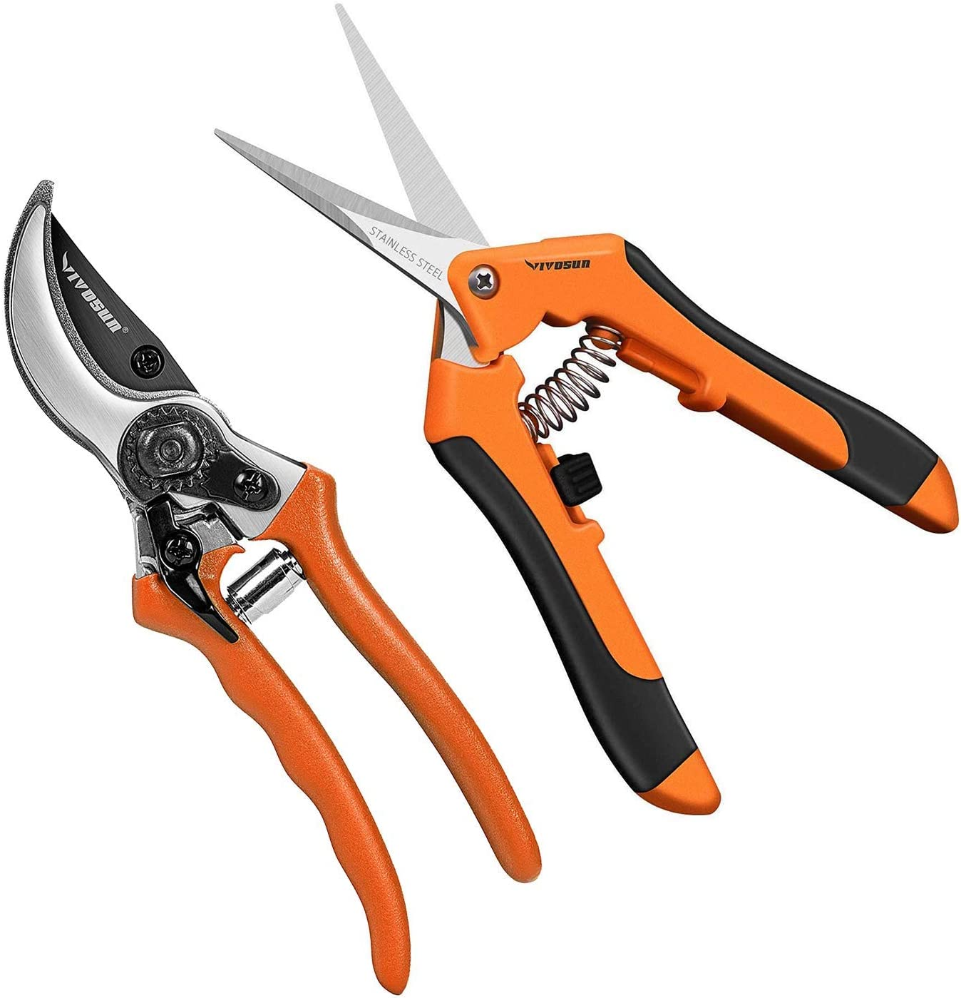 VIVOSUN Garden Hand Pruner Shear with Curved Blade and 8 Inch Bypass Pruning Shear, Orange