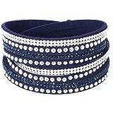 Bracelet Slake Wrap Strass brillant cristal double tour cuir de daim violet