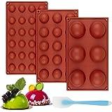 Zoyomax 3 moldes de silicona esférica, moldes de bomba de chocolate semiesférica, sin BPA, juego de moldes de cúpula para bom