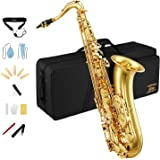 Eastar Tenor Saxophone Student Tenor Saxophone Bb Tenor Sax B Flat Gold Lacquer Beginner Saxophone With Cleaning Cloth,Carryi