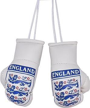 ME MAXEQUIP Flag Car Interior Mini Boxing Gloves 3 Lions England Football Badge Accessories Mirror Hanging PAIR Gloves 2pcs